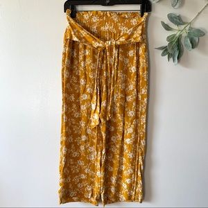 Abercrombie & Fitch Yellow Floral Wide Leg Pants